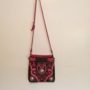 """Brown & Pink Bling Purse approx 11""""X11"""" Beautiful"""